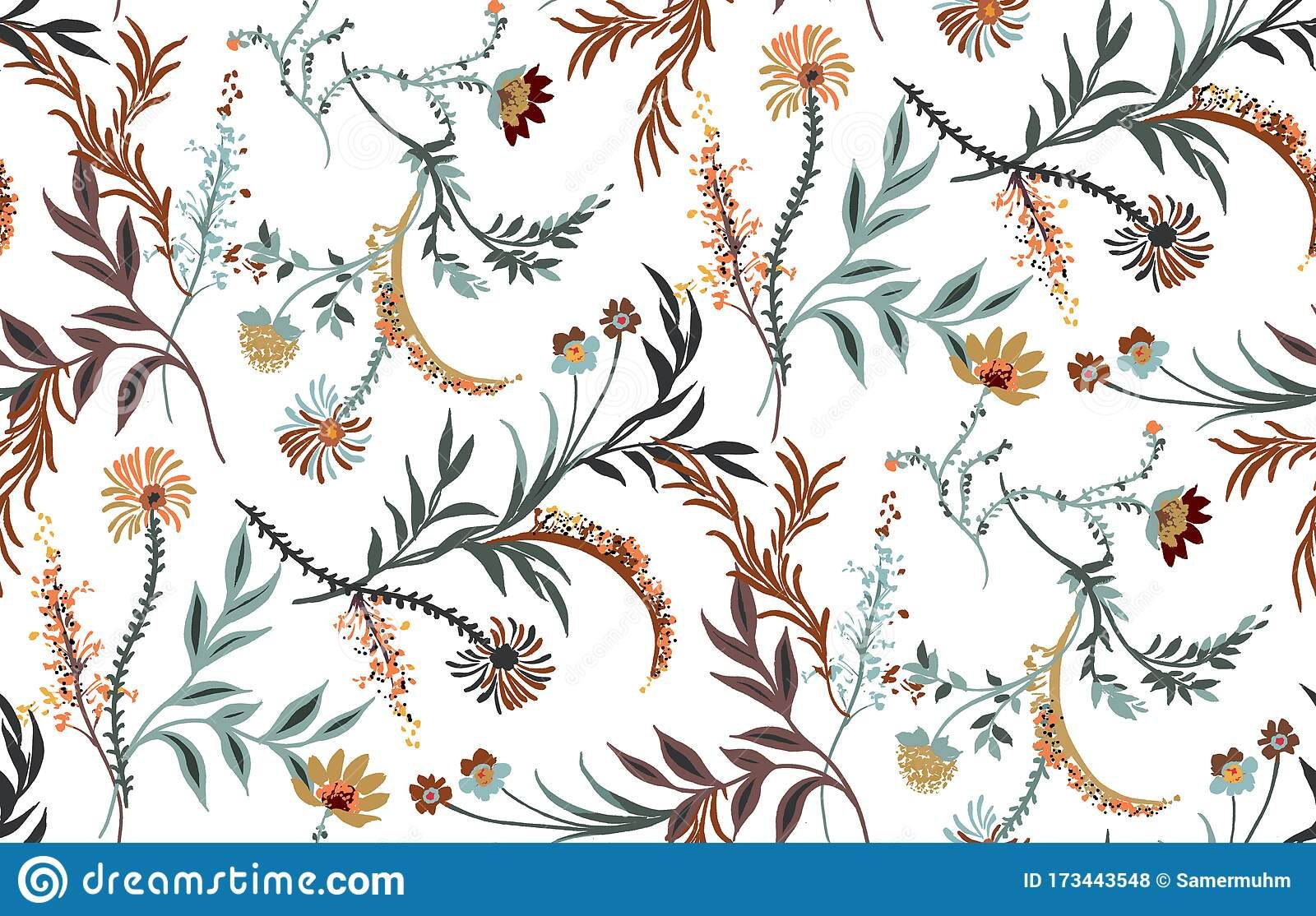 Seamless Watercolor Floral Design With White Background For