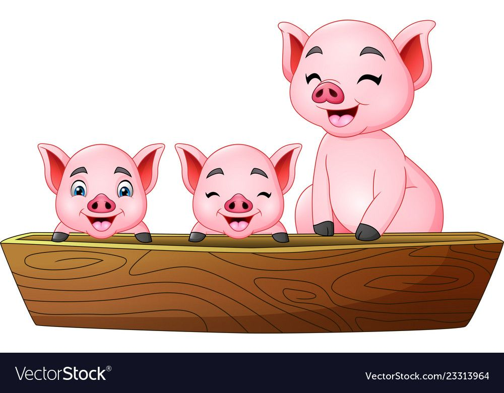Illustration Of Cartoon Three Little Pig Riding On A Boat Download A Free Preview Or High Quality Adobe Illustrat Pig Illustration Little Pigs Cartoon Animals