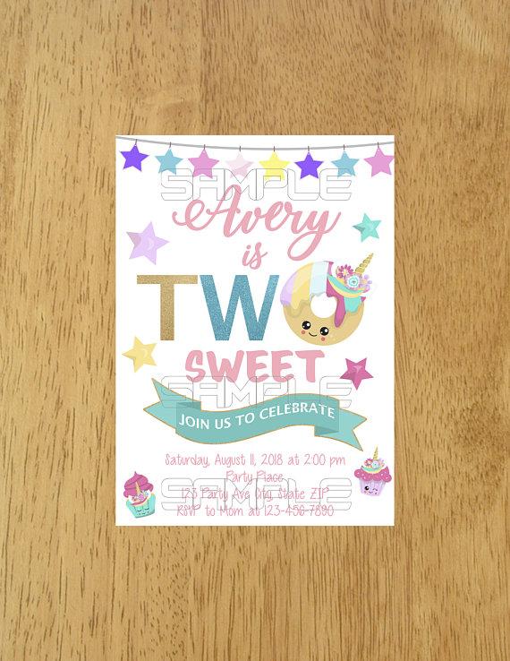 Unicorn Donut Invitation Two Sweet Birthday Too Invite Invi