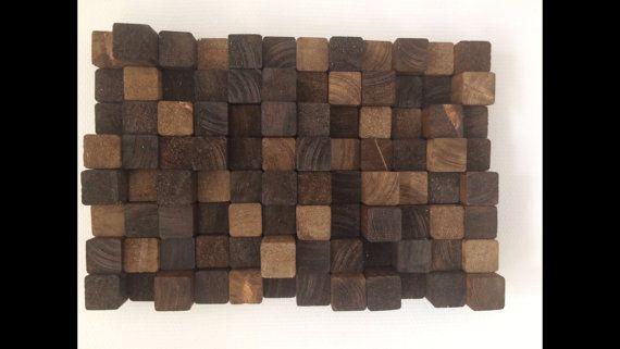 decoración de pared de madera obra de arte por Kunsthangers en Etsy