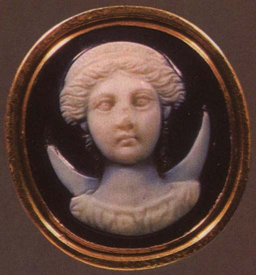 A first-century BC sardonyx Roman gem depicting Selene; the moon goddess is portrayed with her symbolic attribute, a crescent moon. (The State Hermitage Museum)