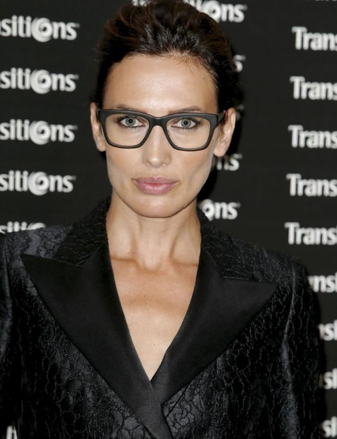 Spanish model Nieves Álvarez wearing retro-style eyeglasses