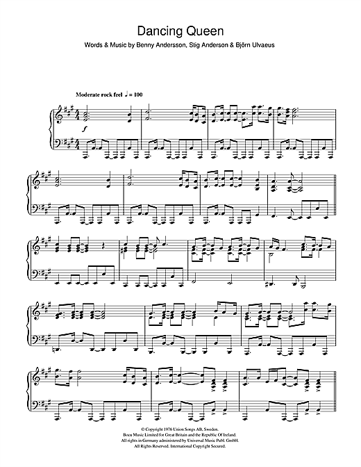 Abba Dancing Queen Sheet Music And Printable Pdf Music Notes Music Notes Sheet Music Dancing Queen