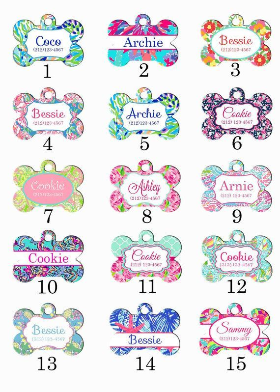 Personalized Pet ID Tag - Custom Pet ID Tag - Dog ID Tag - Dog Collar Name Tag - Lilly Pulitzer Inspired Dog Tag - Choose Your Design                                                                                                                                                                                 Más