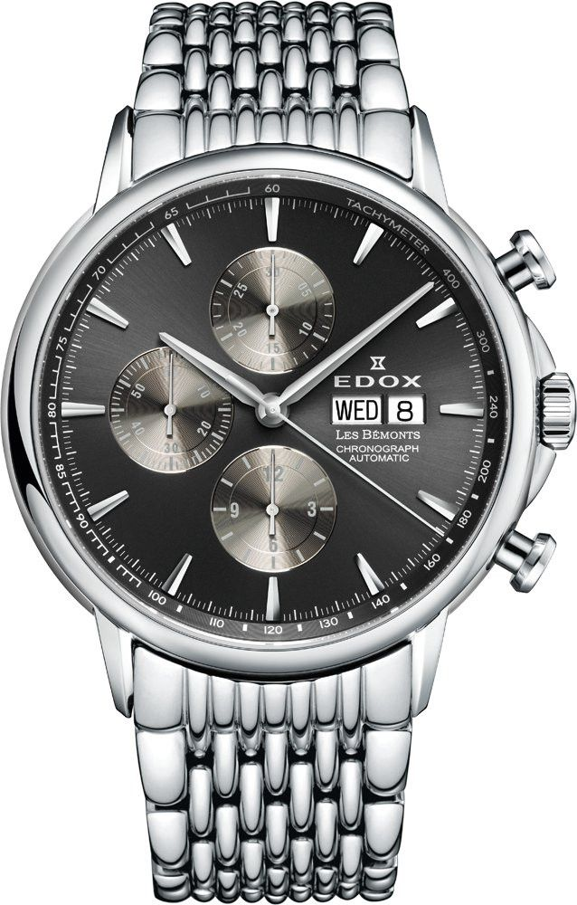 Edox 01120 3M GIN Men s Watch LES BÉMONTS Silver Stainless Steel Band  Automatic Chronograph 05cb56463f