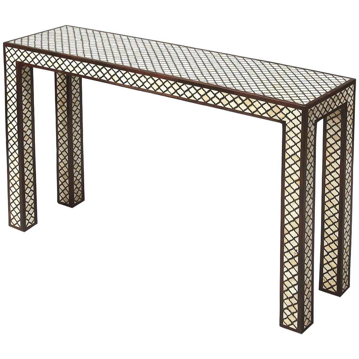 Butler Cosmopolitan Basan Wood Bone Inlay Console Table Console