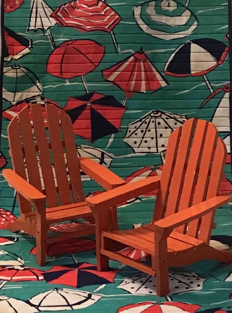 Vintage Set Of 2 Doll Chairs Beach Chairs Handmade Folding Etsy In 2020 Beach Chairs Folding Beach Chair Mid Century Modern Seating