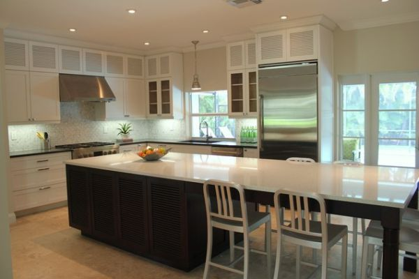 wood-kitchen-with-island | table seating and tables