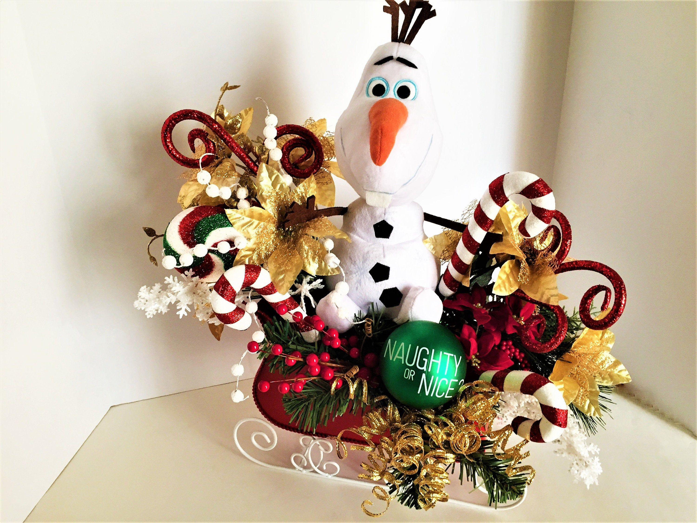 Snowman Floral Arrangement Large Olaf Floral Centerpiece Etsy Etsy Christmas Christmas Gifts Floral Arrangements