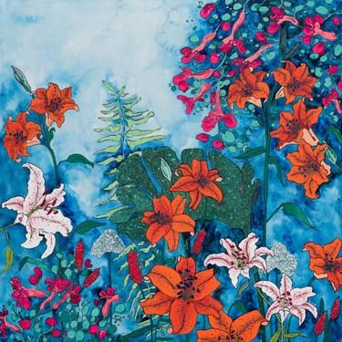 Twilight Night Jungle Blooming Garden of Lilies on Blue  Large Floral Painting Painting by Lara Meintjes is part of Night garden Illustration - Buy Twilight Night Jungle Blooming Garden of Lilies on Blue  Large Floral Painting, a Gouache Painting on Wood, by Lara Meintjes from United States, For sale, Price is $1770, Size is 36 x 36 x 2 5 in