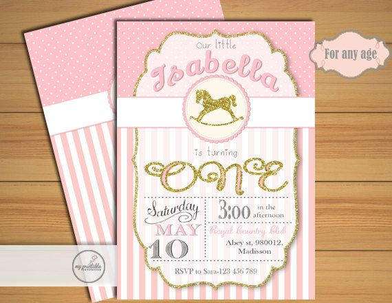 Rocking Horse Invitation Digital Printable Birthday Invite For Kids First Party DIY 1st