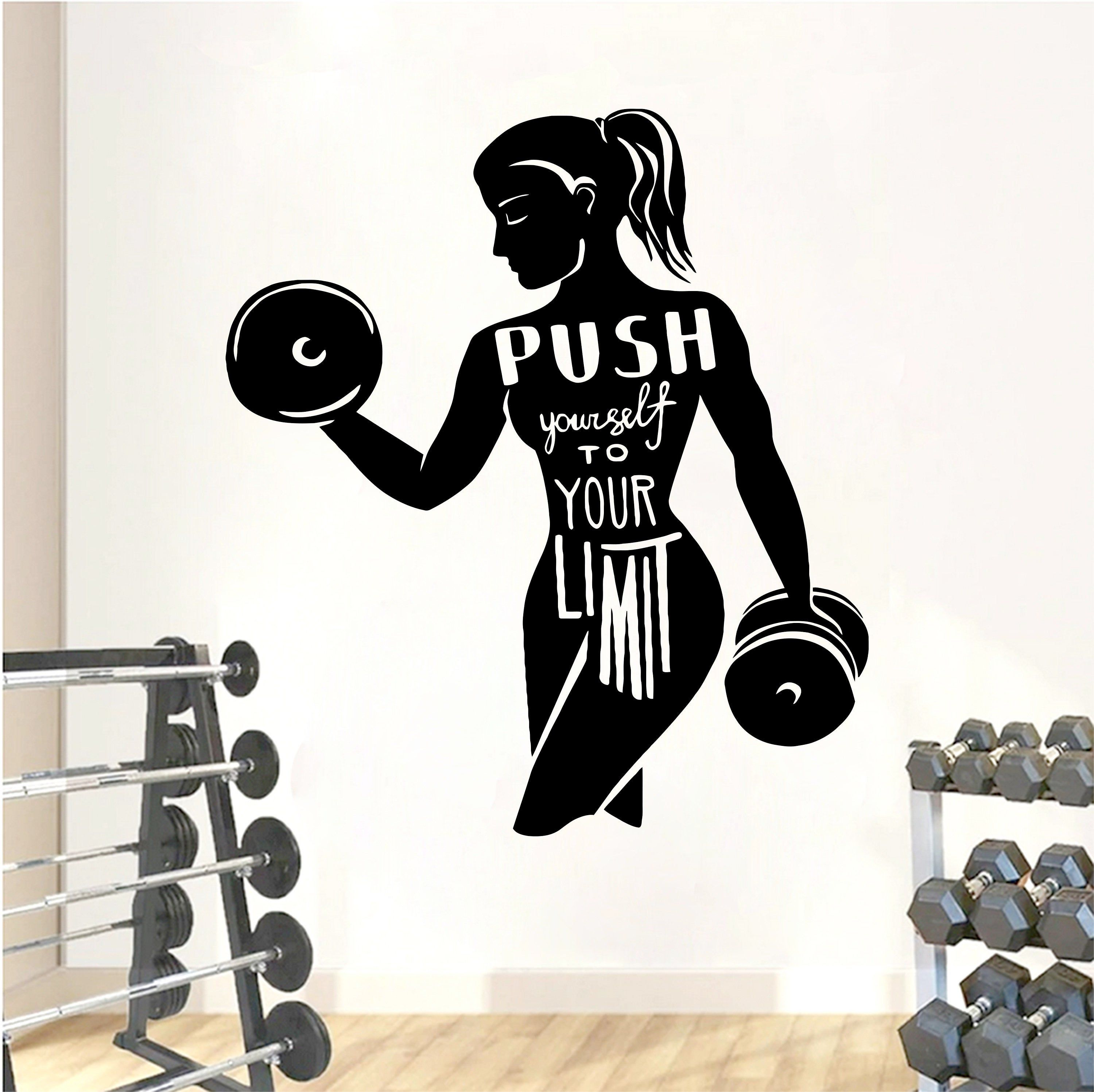 Fitness Wall Decal Workout Wall Decal Gym Wall Decor Etsy Gym Wall Decor Wall Decals Gym Wall Decal