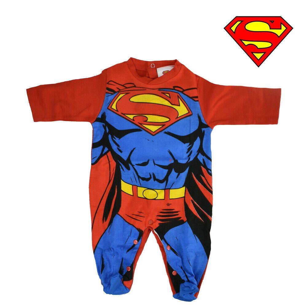 Tutina Pigiama Superman DC Comics 100/% Cotone Con Piedino Colore Blu//Rosso