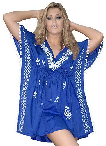 683c7b502b6ce La Leela Rayon White Embroidered Beach Swim Cover Up Tunic Kaftan Royal  Blue La Leela http