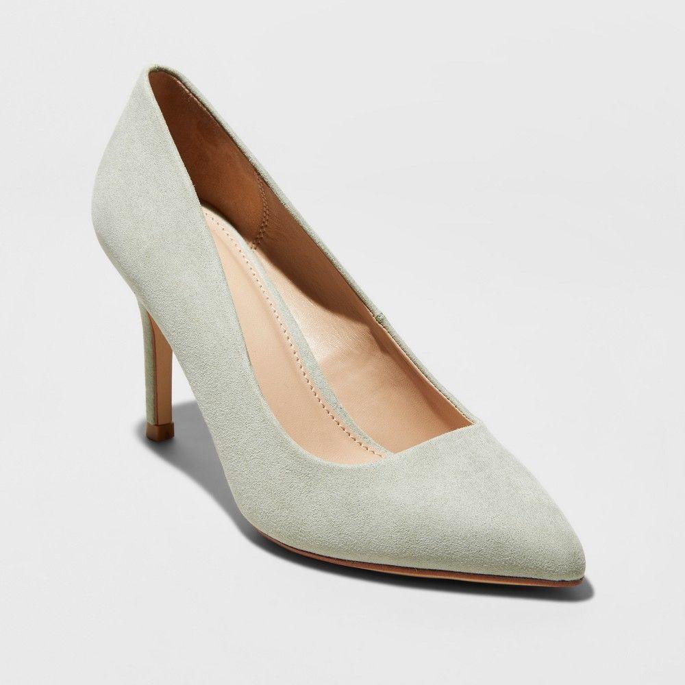 c08d80a678c Women s Gemma Wide Width Pointed Toe Heeled Pumps - A New Day Mint Green  5.5W