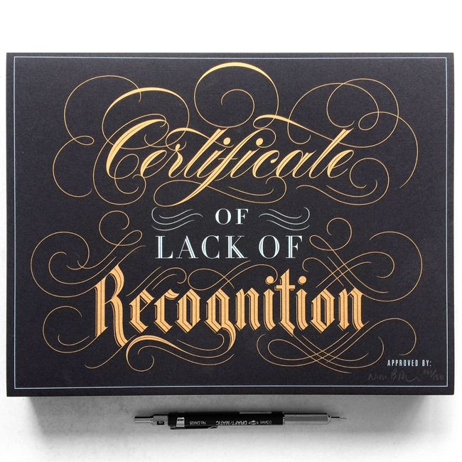 Certificate of Lack of Recognition on Behance