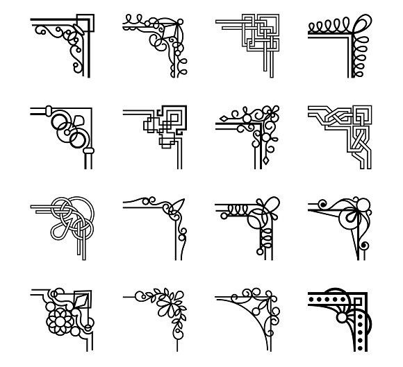 Vector Calligraphic Corners Corner Borders Corner Designs Font Art