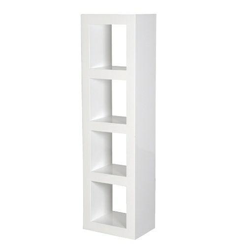 White High Gloss Narrow 4 Shelf Unit Living Room