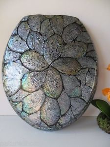 Elongated Seashell Toilet Seat Natural Abalone Pearl Shell Resin Stunning Handmade