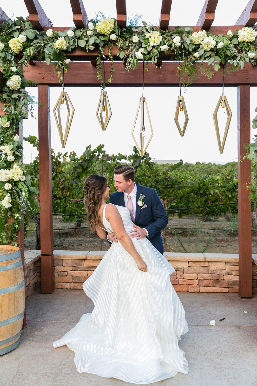 Bride and groom winery wedding Wiens Family Cellars