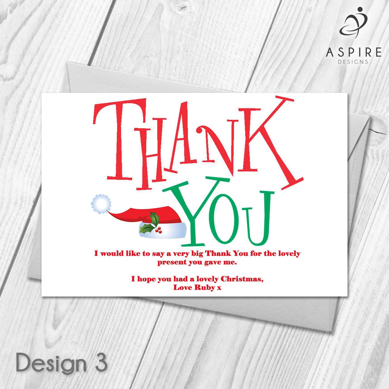 Personalised Christmas Xmas Thank You Festive Cards