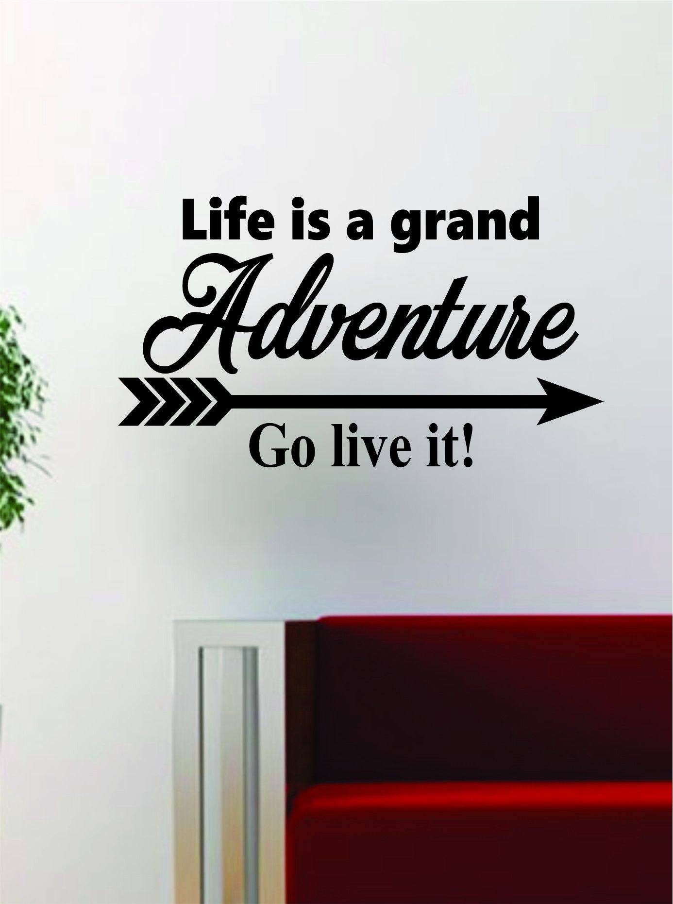 Wall Vinyl Art life is a grand adventure quote decal sticker wall vinyl art decor