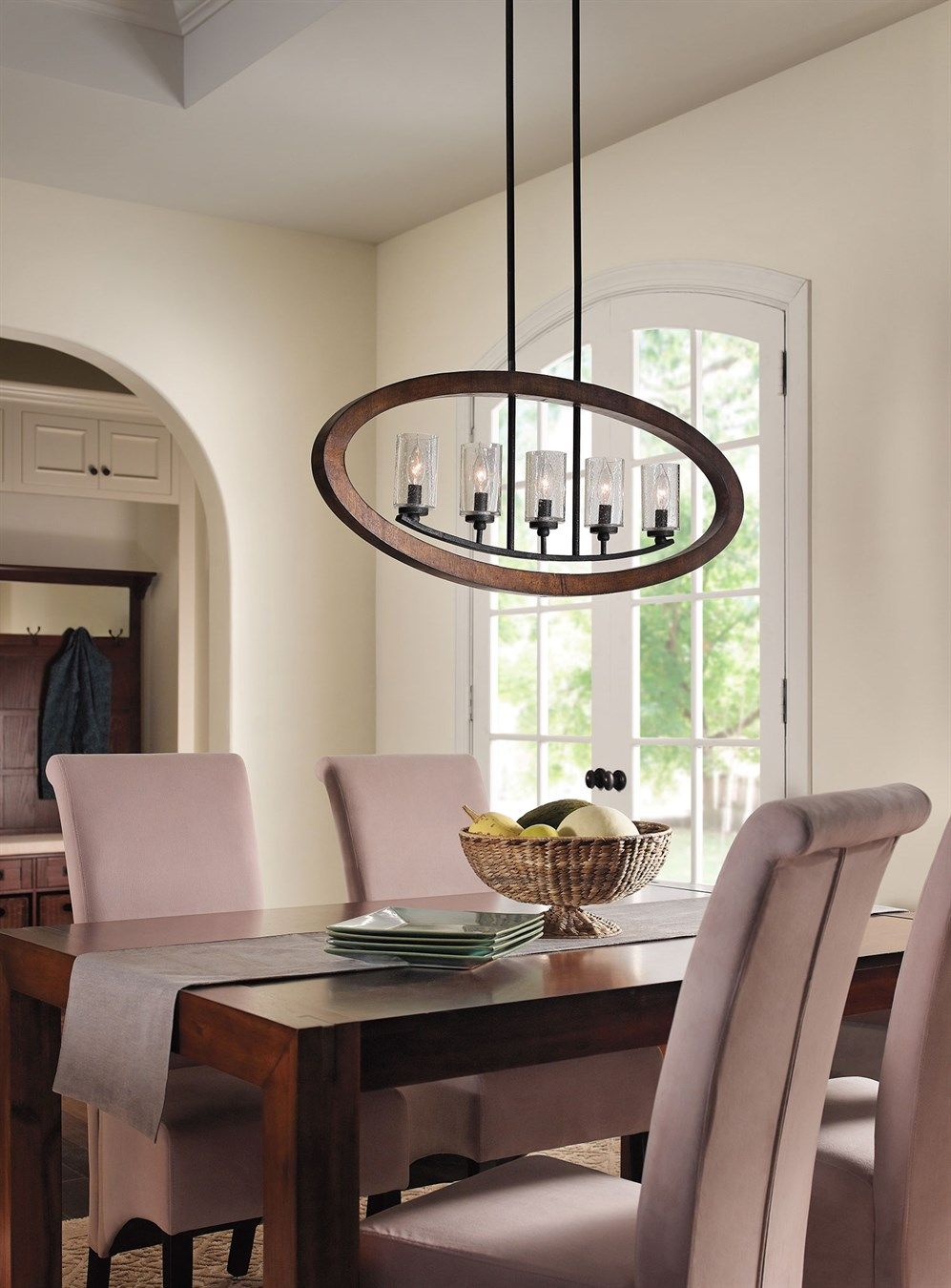 Kichler Dining Room Lighting Captivating Dining Room Lightinggrand Bank 5 Light Linear Chandelier Inspiration Design