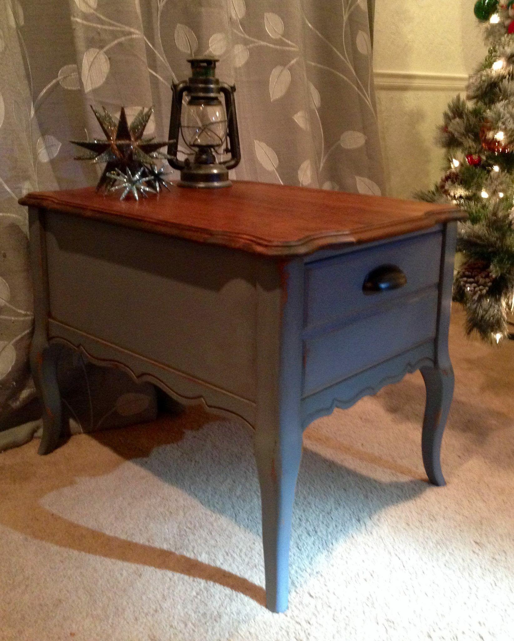 Refurbished Bassett end table Dark gray chalk paint red oak