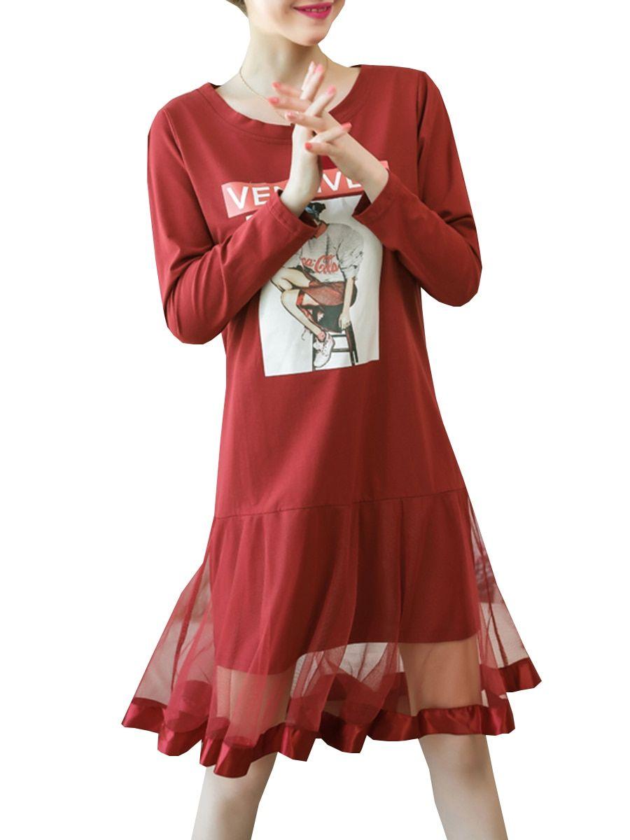 Buy Women s Dress Long Sleeve O Neck Mesh Patchwork Figure Pattern Loose  Plus Size Dress   49792a38b