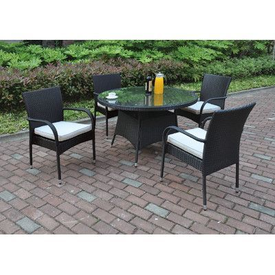 JB Patio 5 Piece Dining Set with Cushions Color: Black