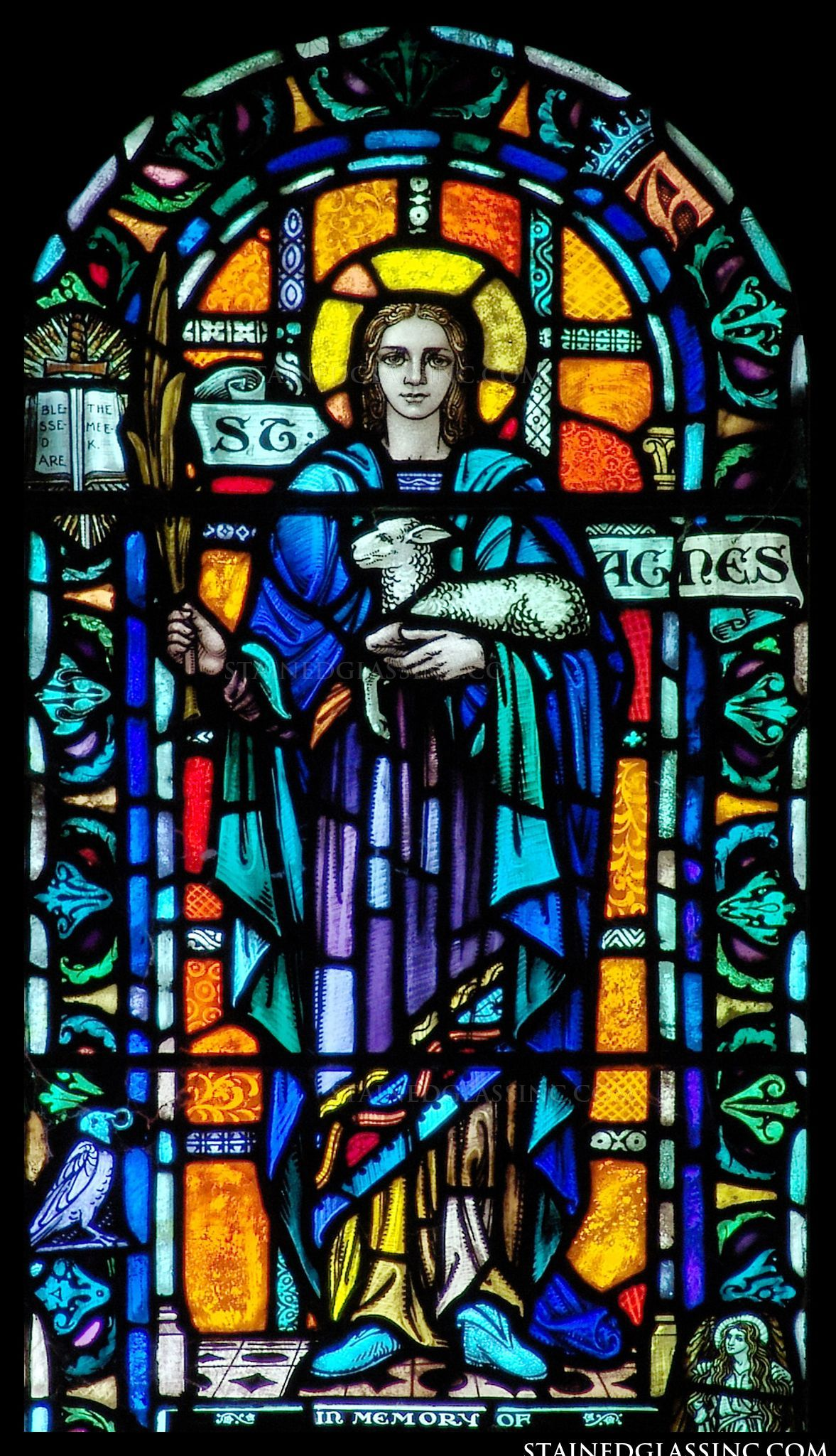 """St Agnes"" Religious Stained Glass Window"