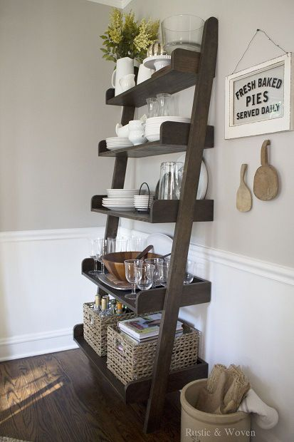 Early Fall   Rustic And Woven   Ladder Shelf  Kitchen And Dining Area