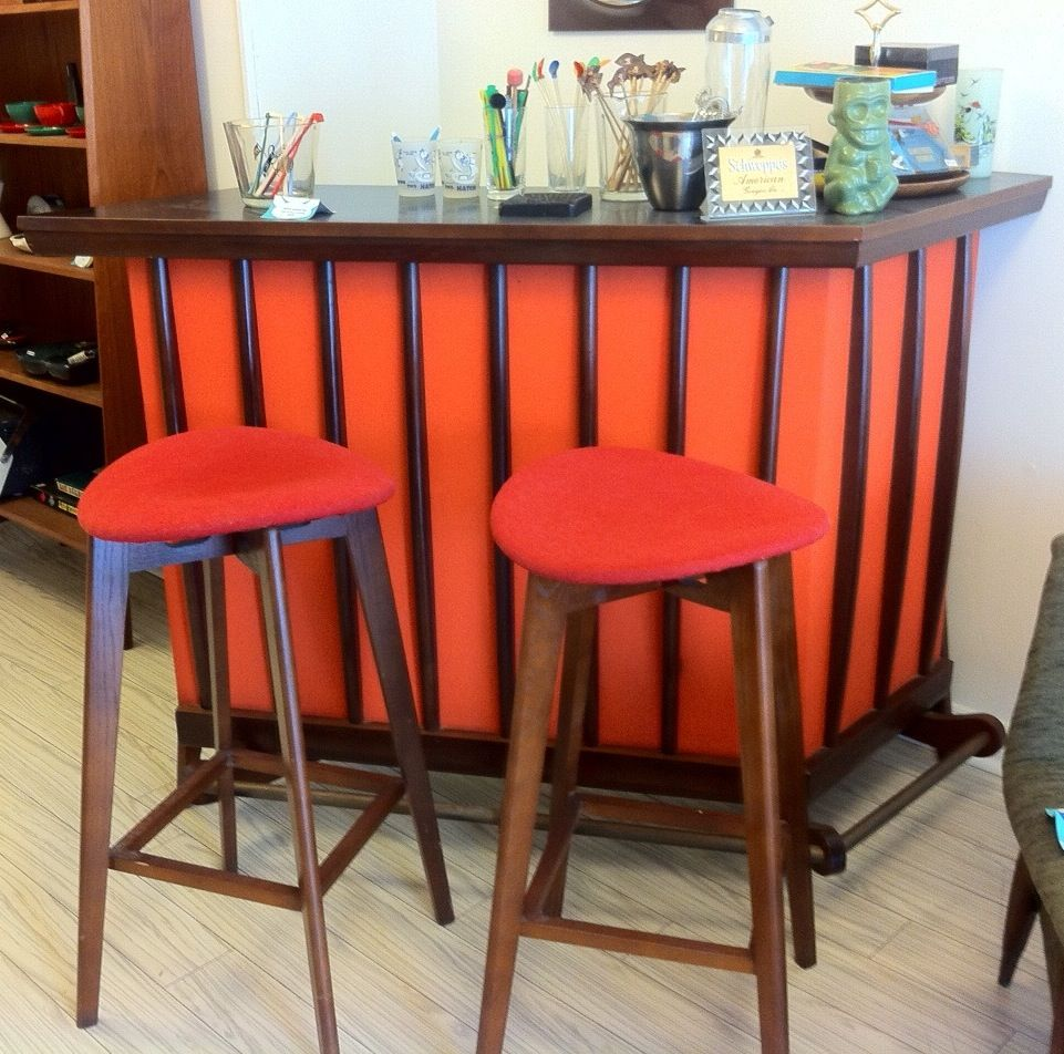 Freestanding vintage 1960s cocktail bar with orange vinyl and walnut ...