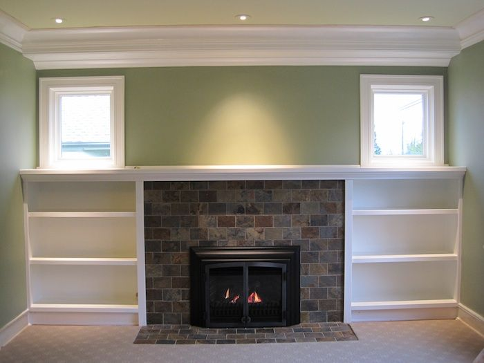 Whole wall remodel to restore craftsman aesthetic to for Craftsman gas fireplace