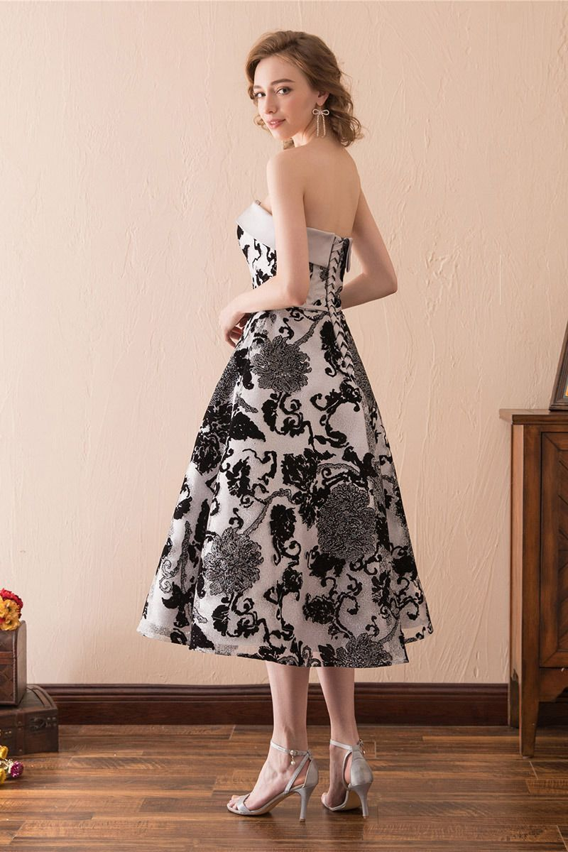 Unique lace a line formal dress strapless black in tea length