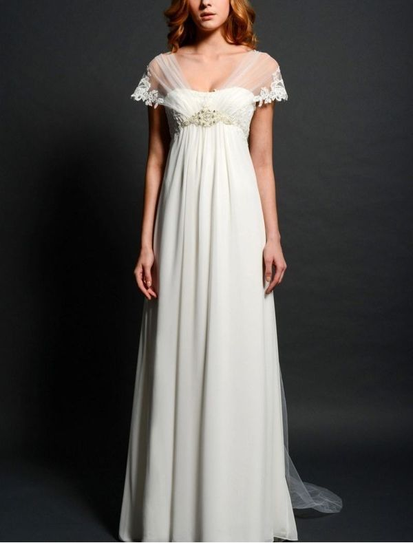 Chiffon sheer sleeves empire wedding dress skirt rc0047 for Empire wedding dresses uk
