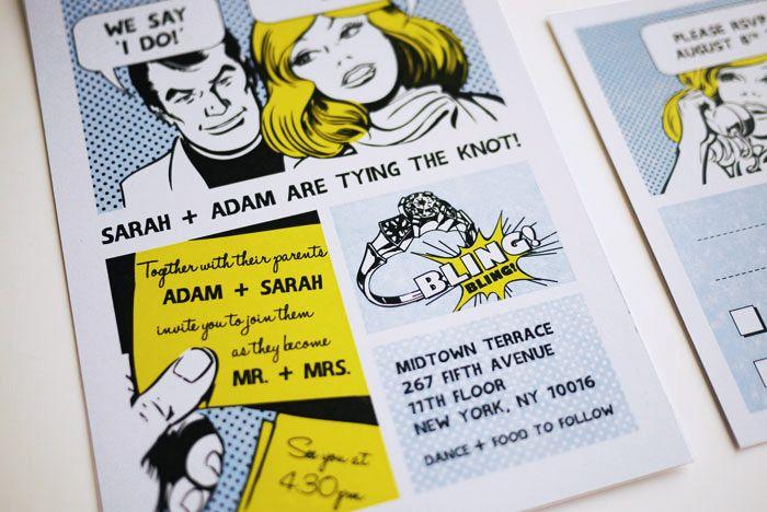 Mariages Rétro Faire Parts Façon Comic Strip Et Pop Art Pour Mariage Sixties