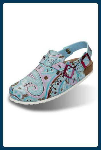 CLINIC DRESS Damenclog Blau mit Paisley Muster blau, Motiv