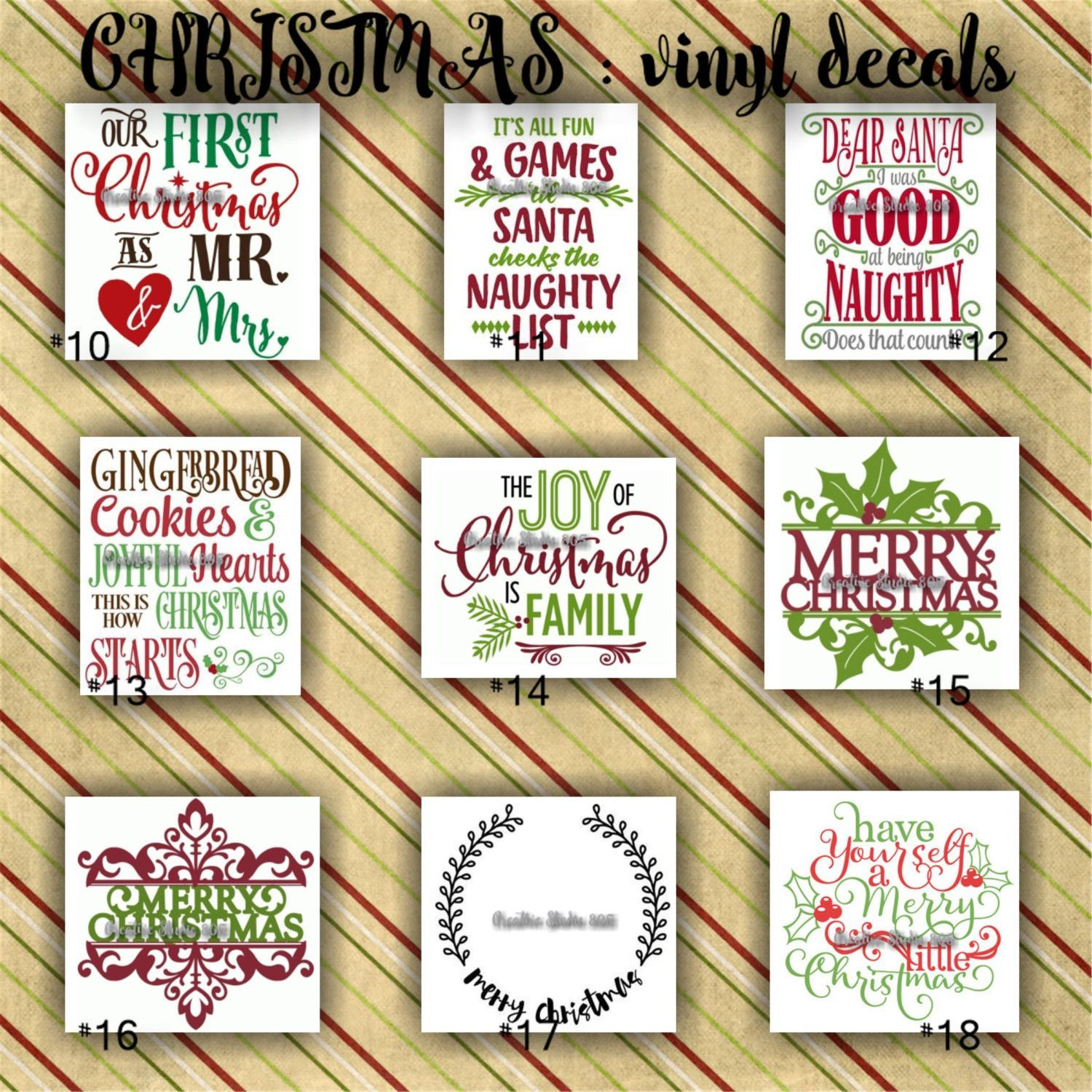 Christmas Vinyl Decals Christmas Decoration Decal Sticker Decal For Canvas Craft Supplies Christmas Vinyl Christmas Coasters Christmas Decorations