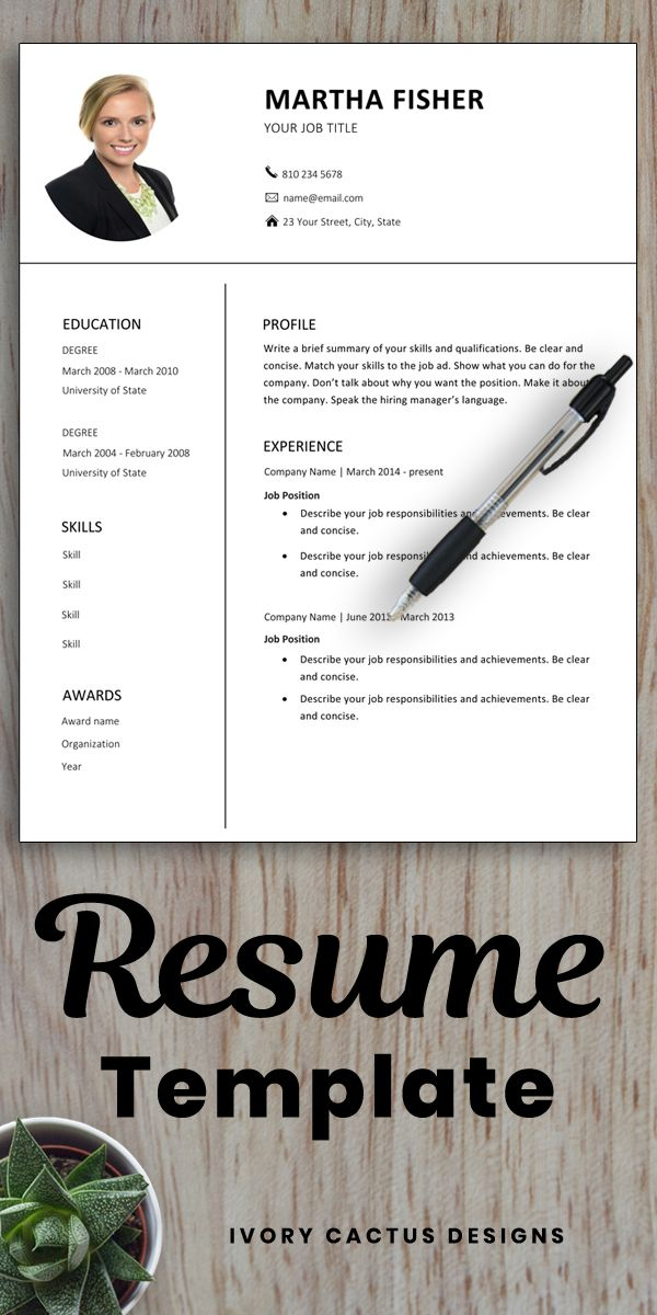 Resume Template Word, with photo, modern, professional