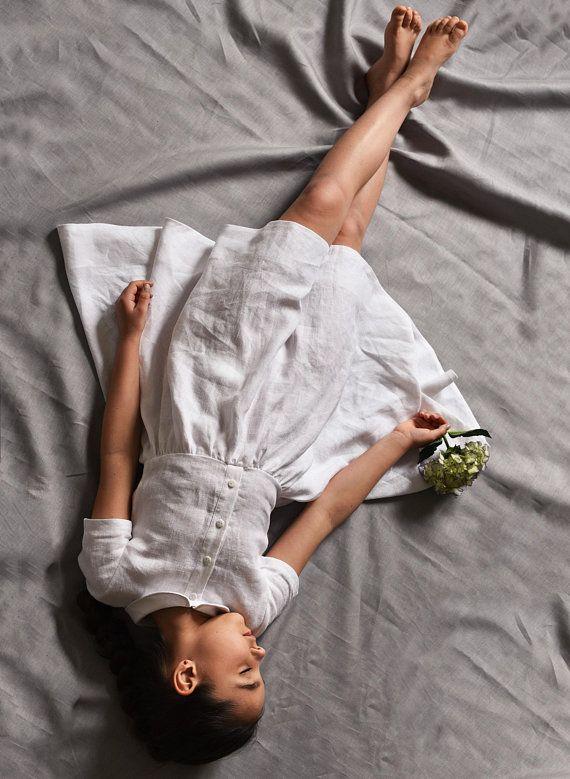 Linen Dress Girl, Girls Dress, White Linen Dress, Peter