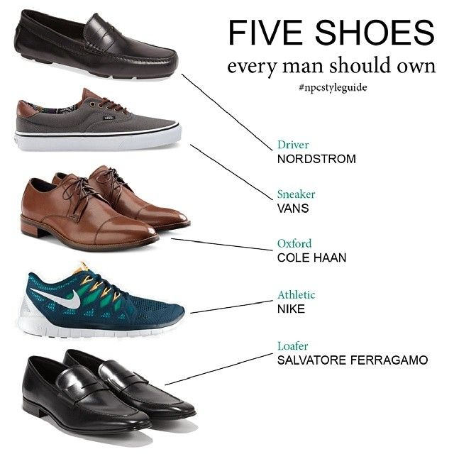 Five shoes every man should own featuring Nordstrom, Vans, Cole Han, Nike  and