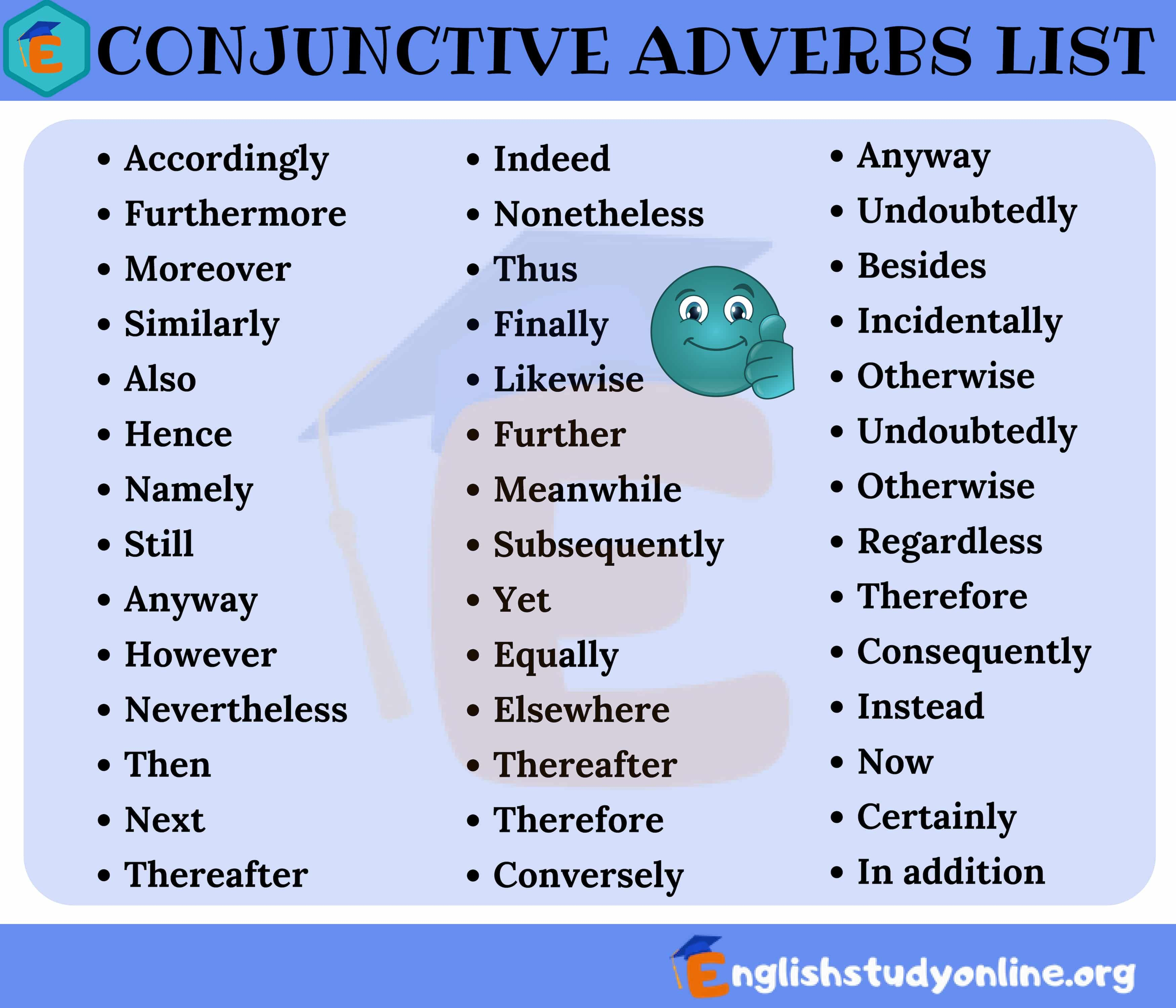 List Of Common Conjunctive Adverbs