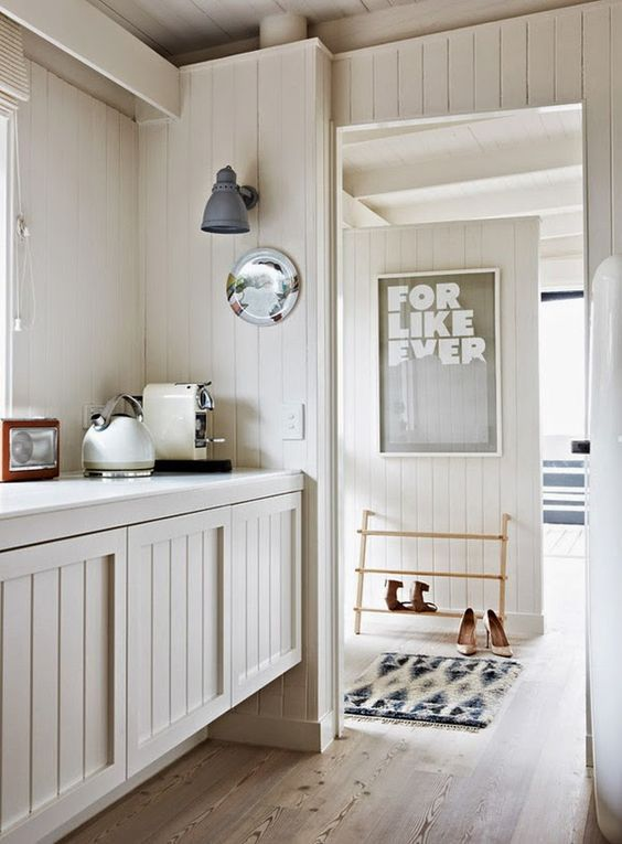 tongue and groove kitchen through to hallway