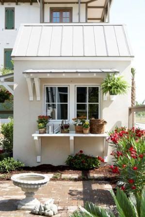 Delicieux Southern Living Garden Shed Plan 1648 Pergola And Bench At End Of Shed.  Perfect. Other Views Show A Wood Awning Over Door At End.
