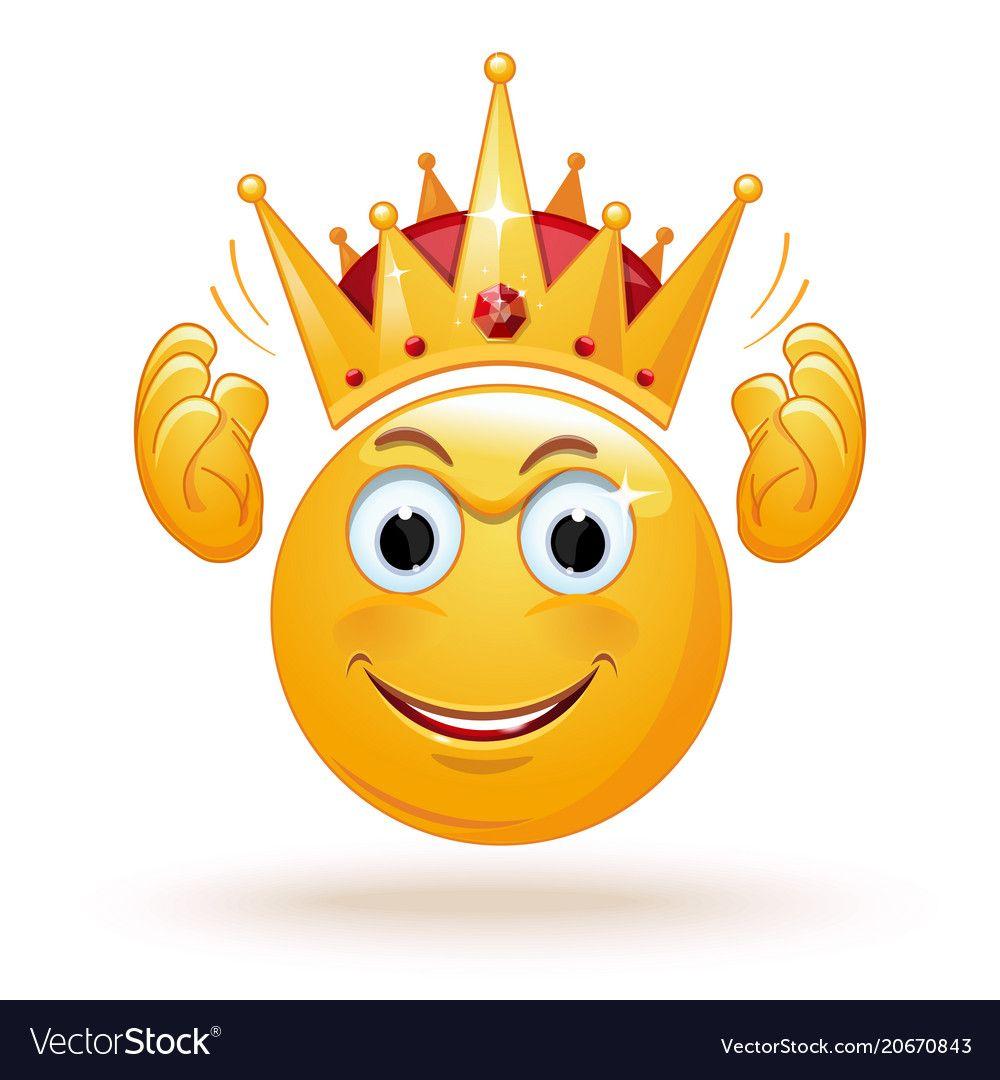 King Emoticon Wears A Crown Vector Image On Vectorstock In 2020 Emoticon Smiley Animated Emoticons