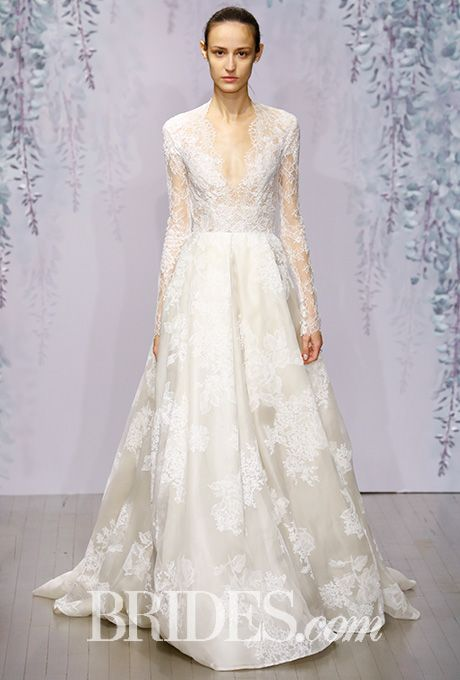 Monique lhuillier fall 2016 monique lhuillier chantilly lace monique lhuillier wedding dress fall 2016 brides junglespirit Gallery