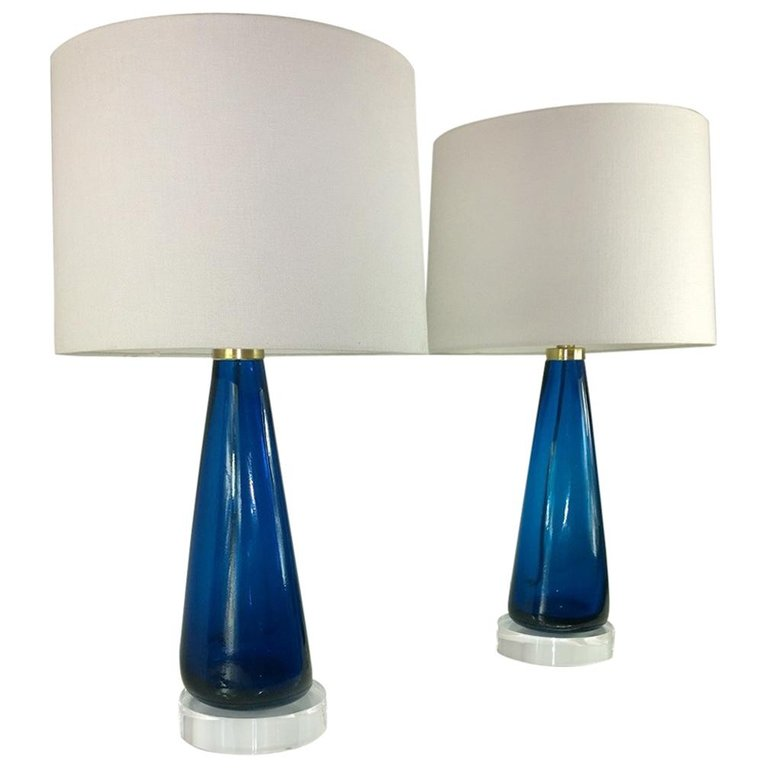 Mid Century Modern Italian Signed Venini Murano Glass With Lucite Table Lamps Table Lamp Lamp Lucite Table