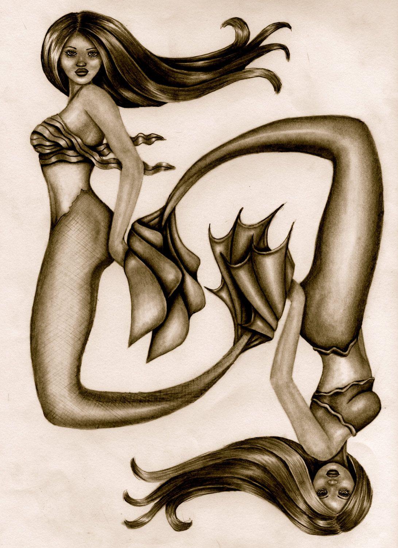 Mermaid Art Print Pisces Drawing Fantasy By ShaktiGoddess