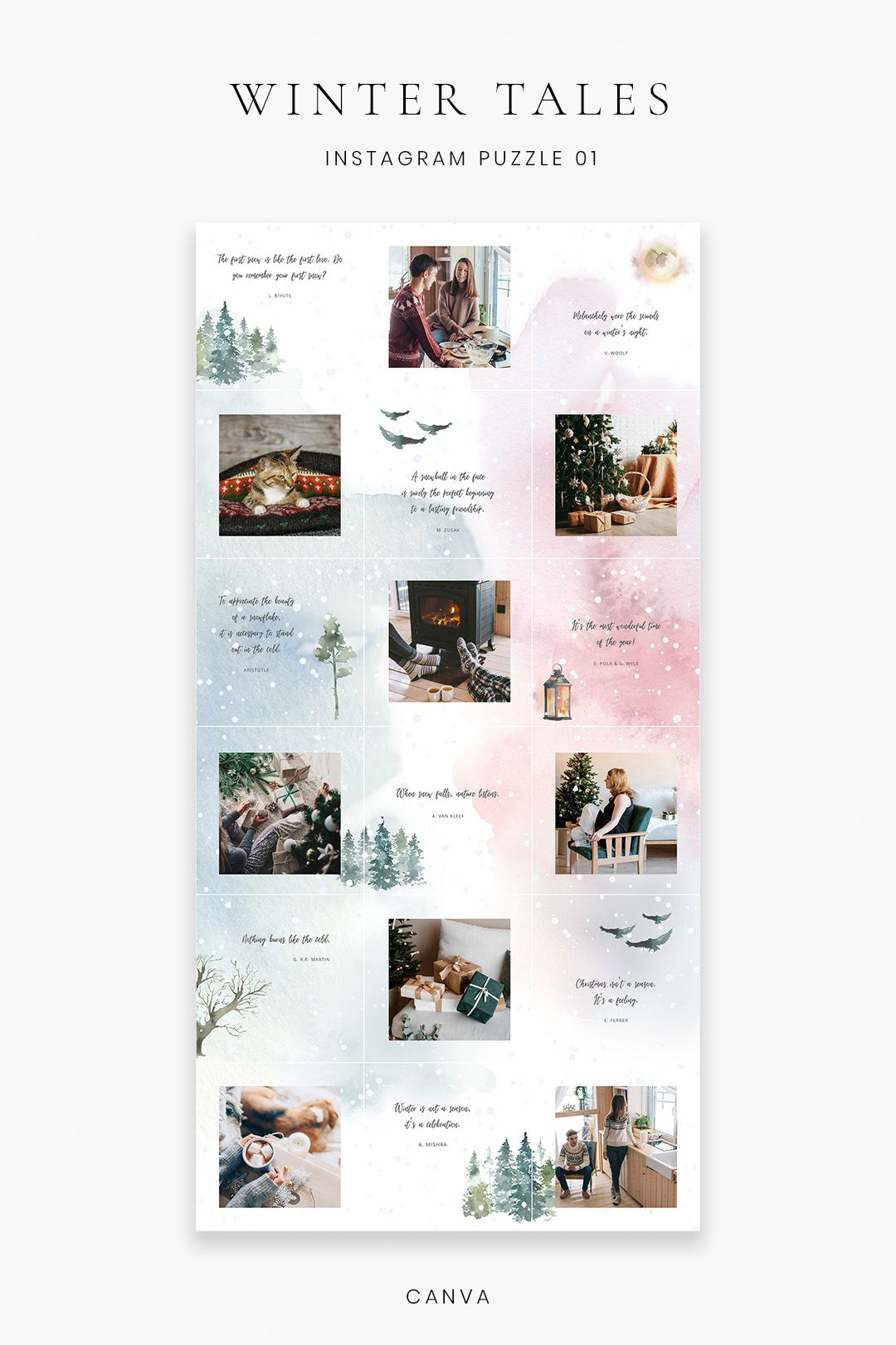 Canva Template Instagram Puzzle Christmas Instagram Template Watercolor Instagram Canva Puzzle Feed Instagram Templates Winter Instagram Feed Layout Instagram Template Design Instagram Grid Design